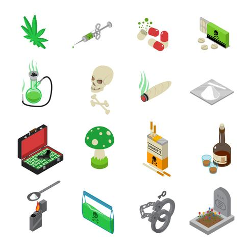 Drogues Icons Set vecteur