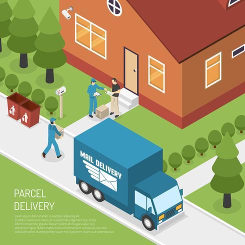 Affiche isométrique de livraison de colis postaux vecteur