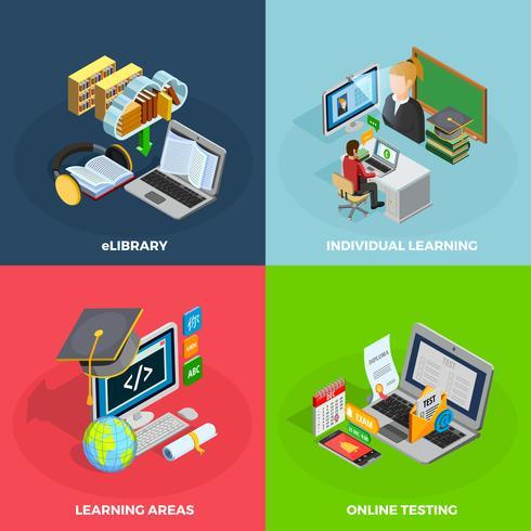 E-learning Concept Icons Set vecteur