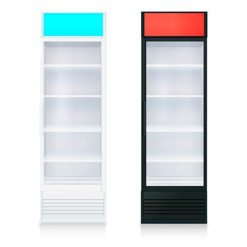 Modèle de réfrigérateur vide vertical vecteur