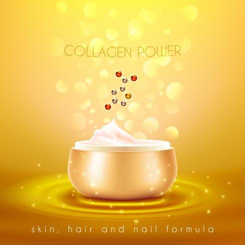 Affiche de fond d'or de crème de peau de collagène vecteur