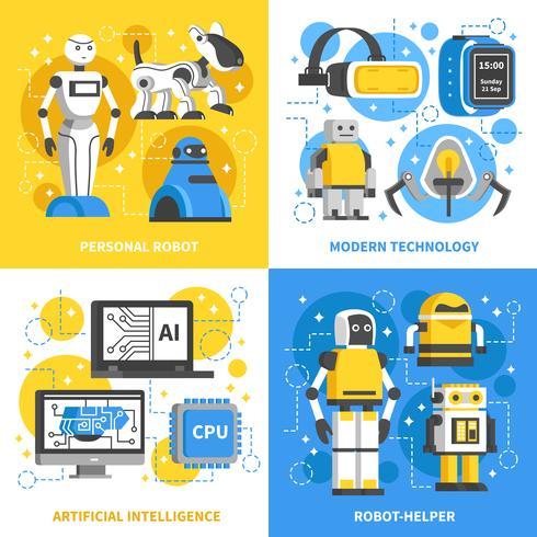 Concept de design de l'intelligence artificielle 2x2 vecteur