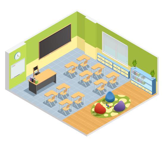 Affiche isométrique d'intérieur de salle de classe vecteur
