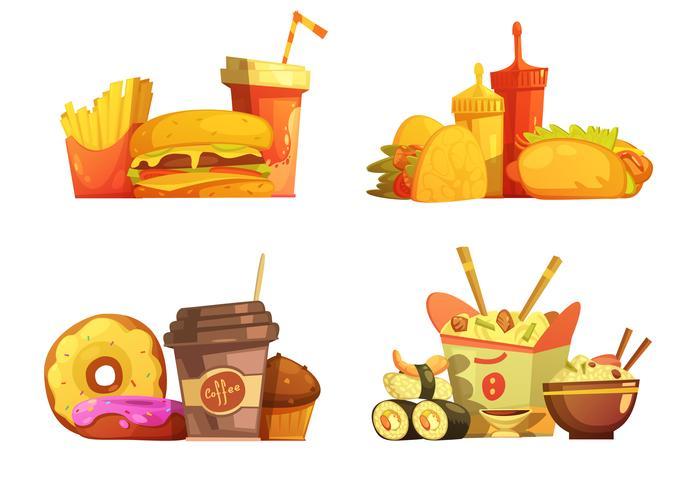Set de dessin animé rétro repas de restauration rapide vecteur