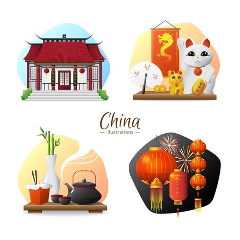 Composition carrée des symboles de la Chine 4 icônes vecteur