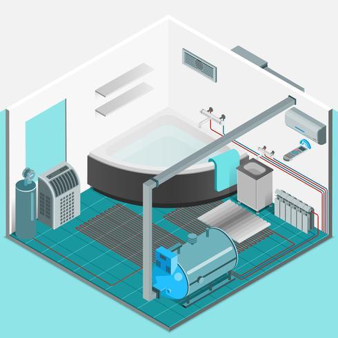 Concept isométrique intérieur du système de refroidissement de chauffage vecteur