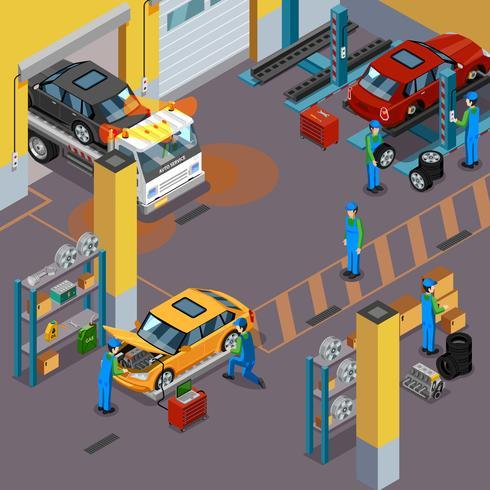 Concept isométrique de service de voiture vecteur