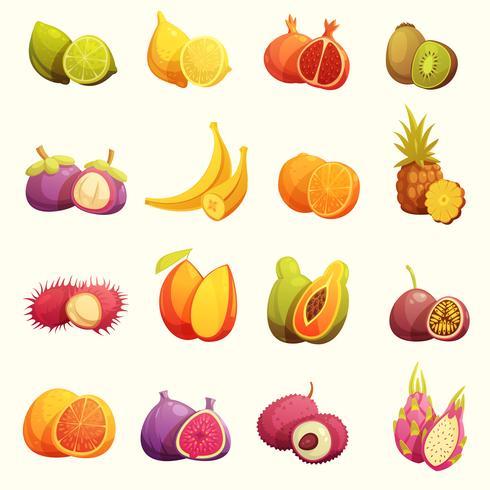 Fruits tropicaux rétro Cartoon Icons Set vecteur