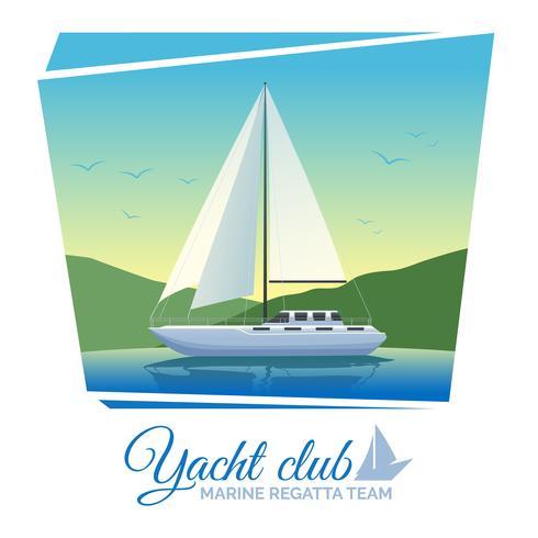 Affiche du club nautique vecteur