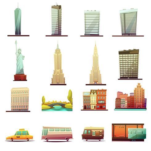 New York Transportation Landscape Icons Set vecteur