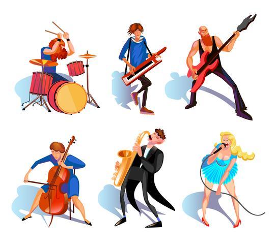 Musiciens Cartoon Set vecteur