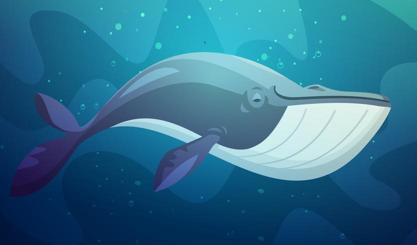 Illustration de dessin animé rétro de gros poissons sous l'eau vecteur