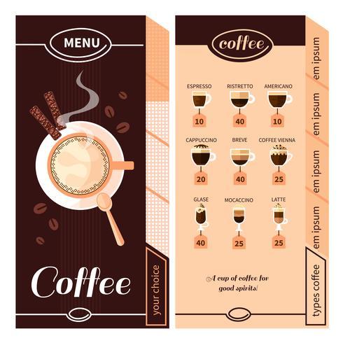 Conception du menu café vecteur