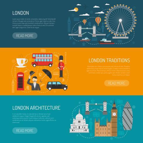 Ensemble de bannières plat de monuments de Londres vecteur