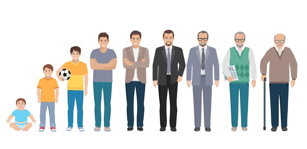 Ensemble d'hommes de toute génération d'âge vecteur