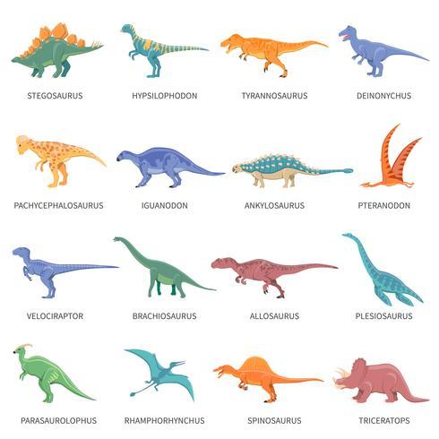 Dinosaures couleur isolé Icons Set vecteur