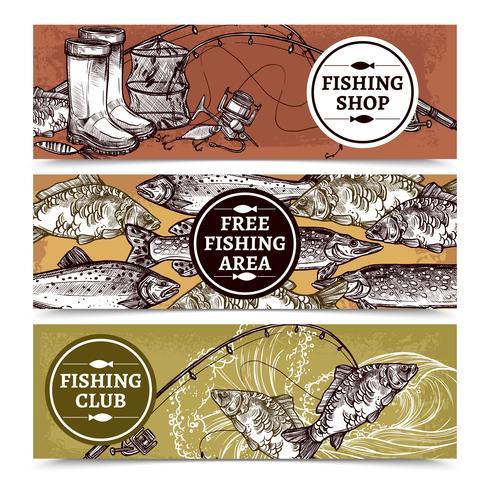 Bannières horizontales de pêche vecteur