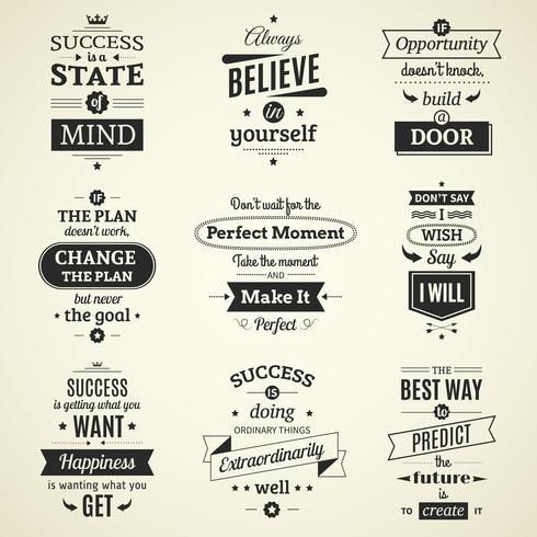 Citations de succès affiches typographiques vecteur