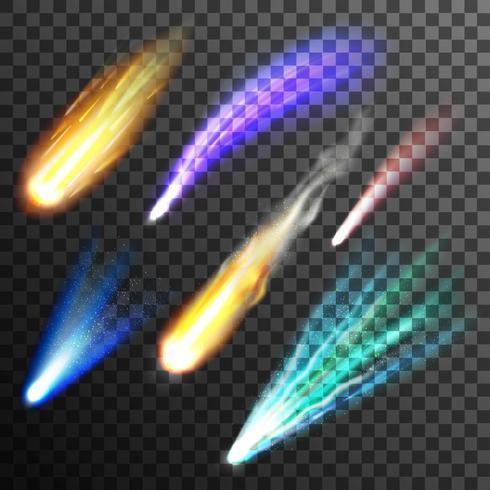 Météore et comète fond transparent vecteur