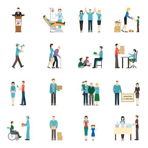 Ensemble d'icônes de dons de charité vecteur
