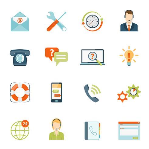 Contactez-nous ensemble d'icônes de support client vecteur