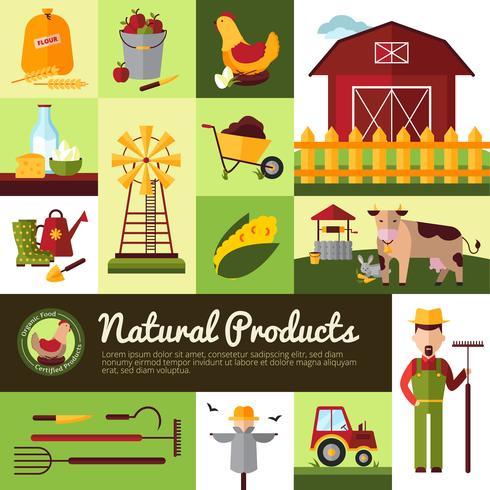 Produits de ferme biologiques Design plat vecteur