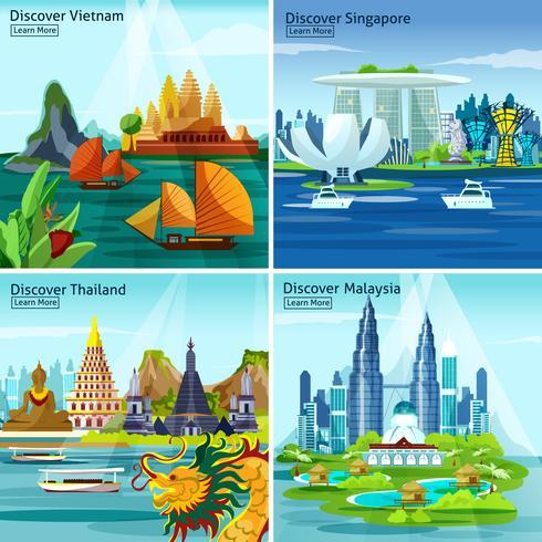 Concept de voyage asiatique 2x2 vecteur