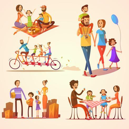 Jeu de famille rétro Cartoon vecteur