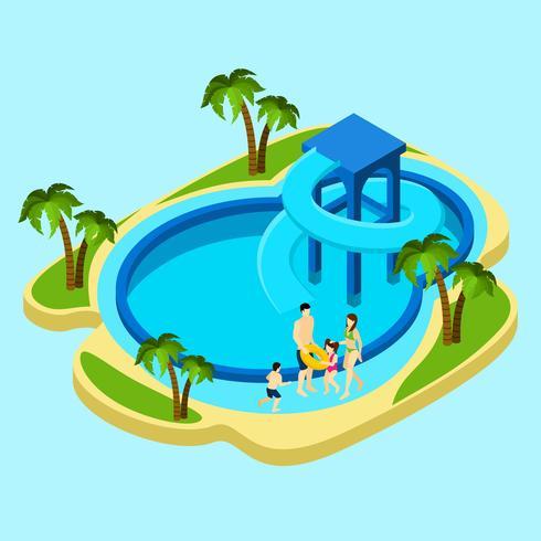 Famille au parc aquatique Illustration vecteur