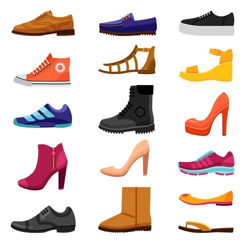 Ensemble d'icônes colorées de chaussures vecteur