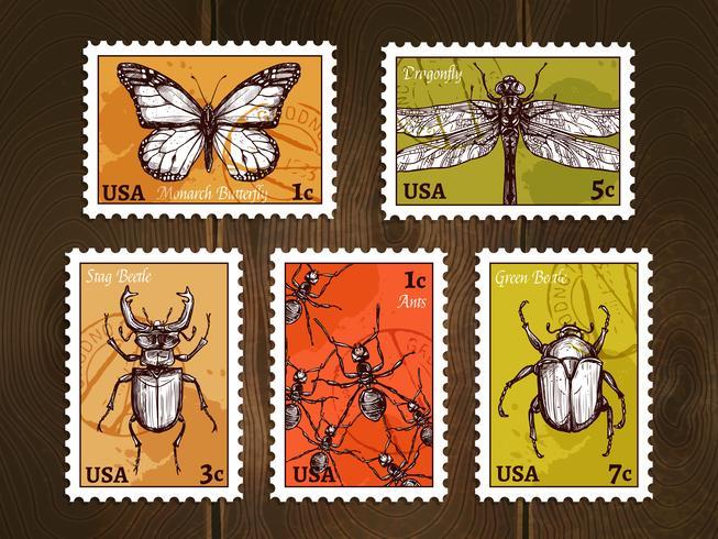 Esquisse de timbres-poste avec insectes vecteur