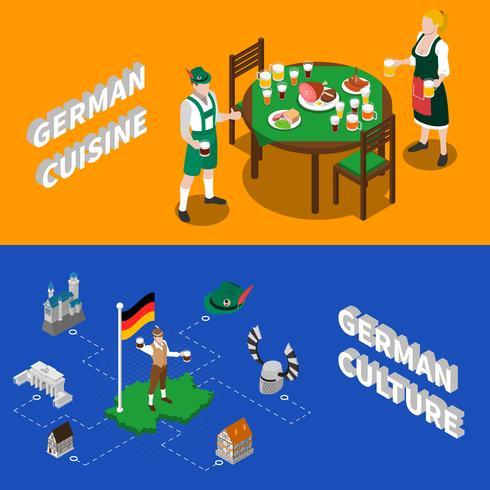 Bannières isométriques de culture allemande pour touristes vecteur