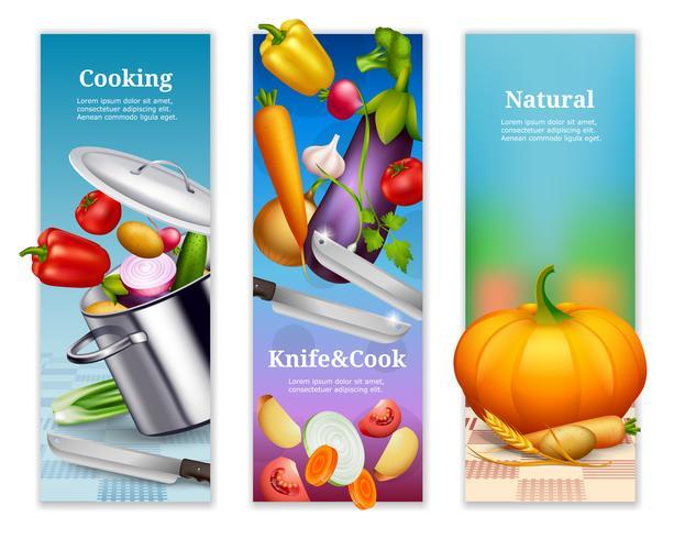 Bannières verticales de légumes naturels vecteur