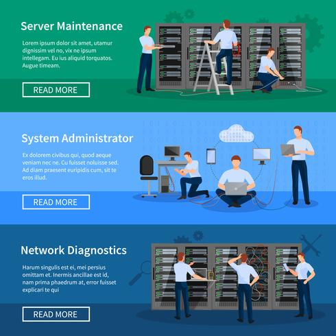 Bannières horizontales d'administrateur informatique vecteur