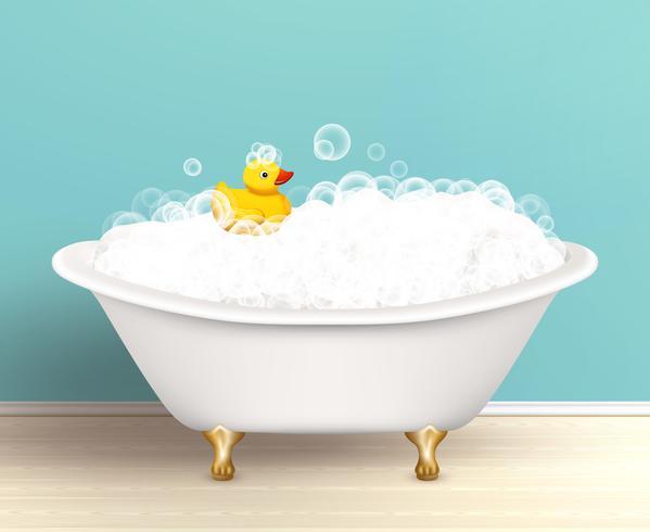 Affiche de baignoire avec mousse vecteur