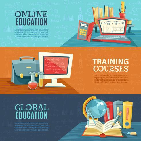 Ensemble de bannières de cours en ligne d'éducation scolaire vecteur