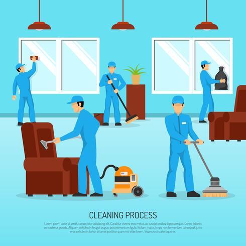 Affiche plate de travail en équipe de nettoyage industriel vecteur