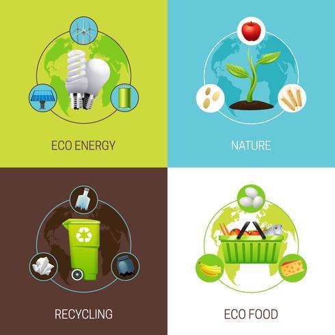 Ensemble d'illustrations de concept d'écologie vecteur