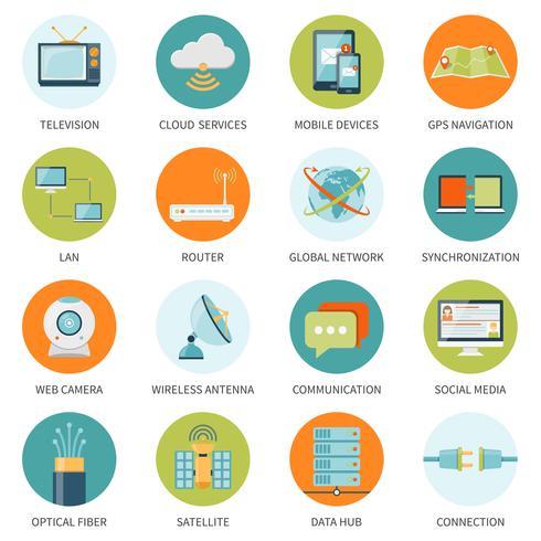 Icônes de télécommunication dans les cercles colorés vecteur