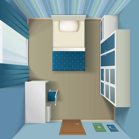 Intérieur de la chambre à coucher moderne, vue de dessus réaliste vecteur
