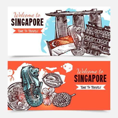 Bannières d'esquisse dessinées à la main à Singapour vecteur