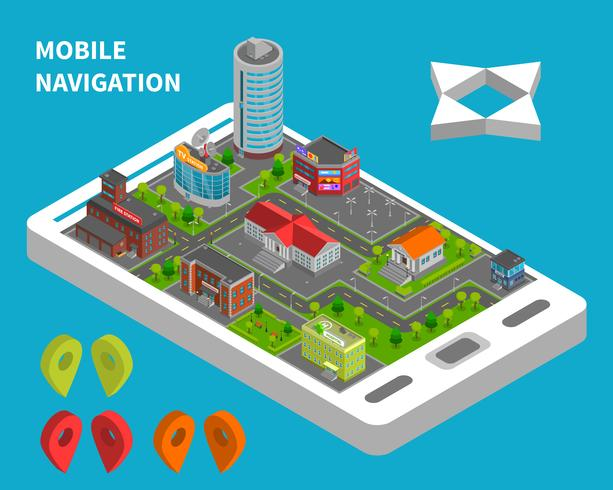 Concept isométrique de navigation mobile vecteur