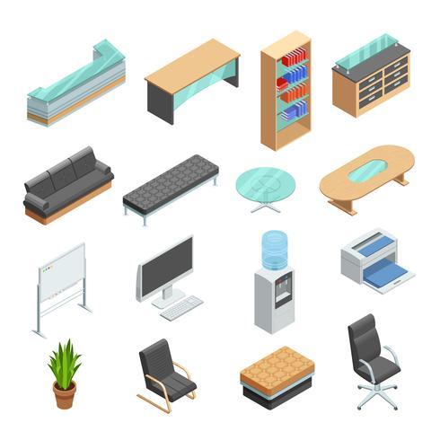 Ensemble d'icônes isométrique de mobilier de bureau vecteur