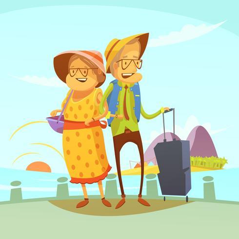 Couple de personnes âgées voyageant Illustration vecteur