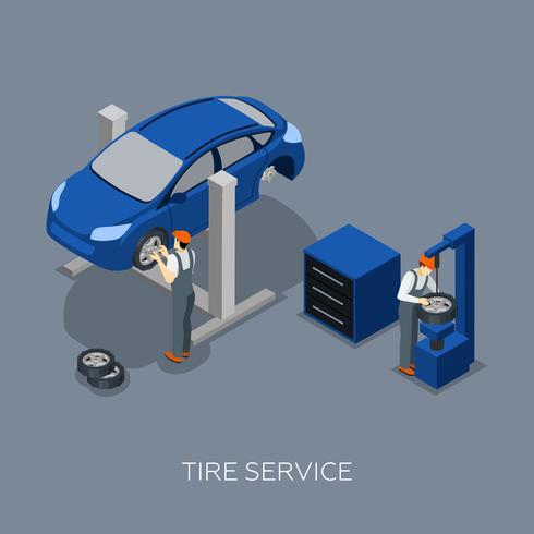 Pneus Auto Service Isometric Banner vecteur