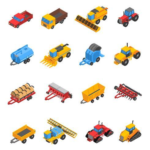 Jeu d'icônes isométrique machines agricoles vecteur