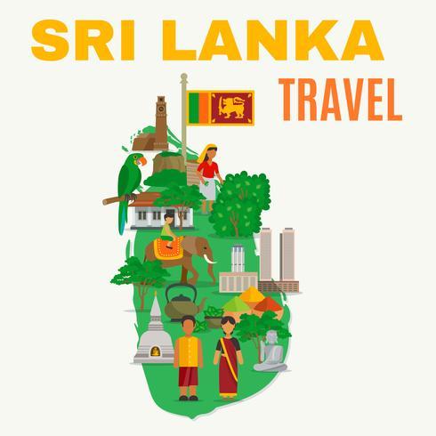 Illustration à plat du Sri Lanka vecteur
