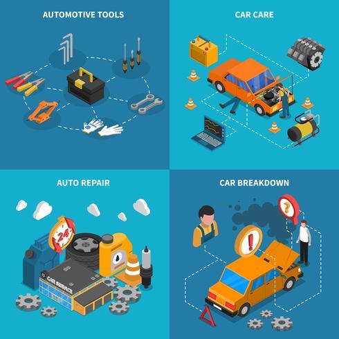 Service de voiture isométrique conceptuel Icon Set vecteur