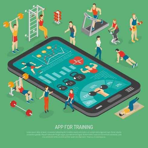 Fitness Smartphone Accessoires Apps Affiche isométrique vecteur