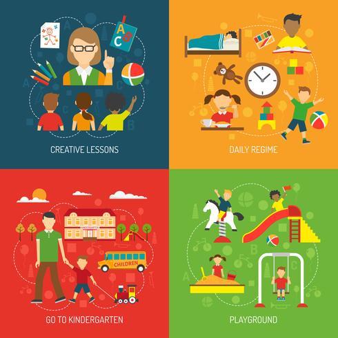 Concept de jardin d'enfants 2x2 vecteur